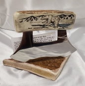Scrimshaw Antler Handle Ulu Polar Bear